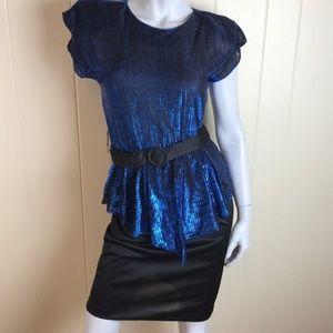Vintage 70s/80s Blue Lamé Peplum Disco Dress
